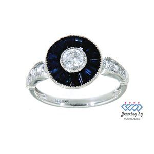 Blue Sapphire Diamond Cocktail Ring 14K White Gold